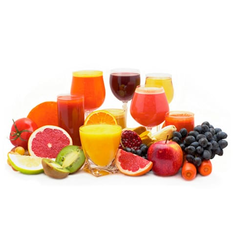Display of many different fruits and fruit juices
