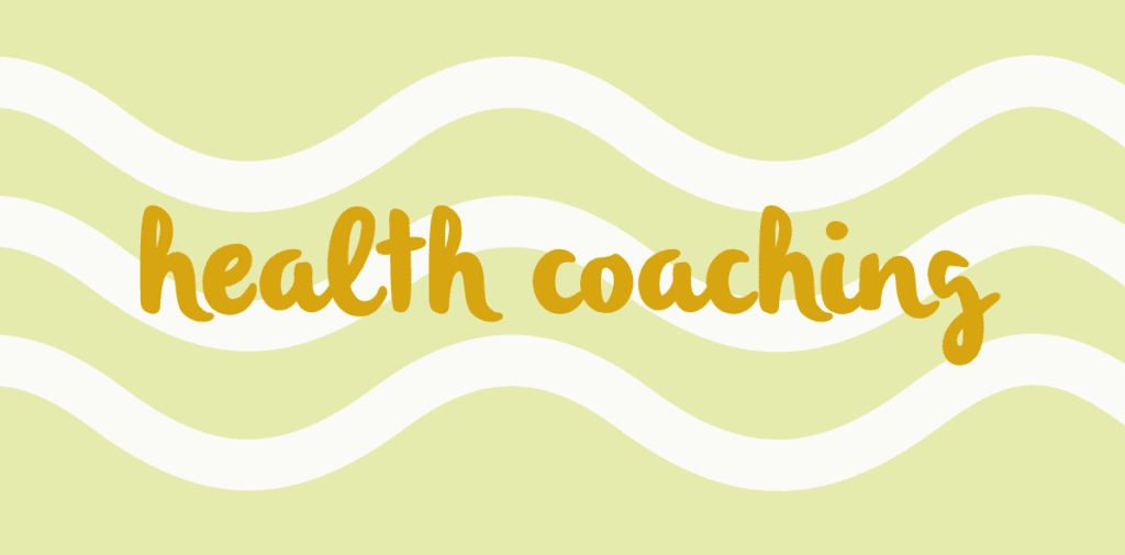Image that contains the text: health coaching on a background