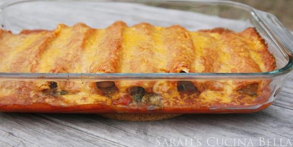 Baking pan with enchiladas.