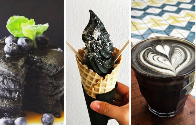 Three photos of activated charcoal in food.