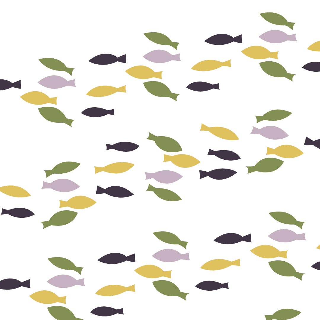 A mixture of green, yellow, and purple illustrated fish swimming